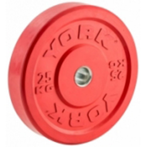 York Olympic Colour Rubber Bumper Plates 25kg Red