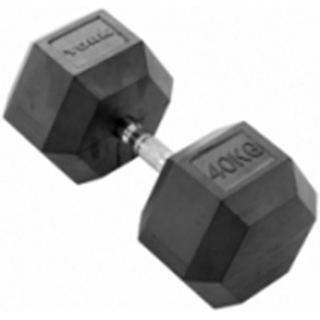 York 1 x 40kg Rubber Hex Dumbbell
