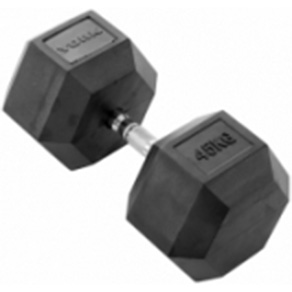York 1 x 45kg Rubber Hex Dumbbell