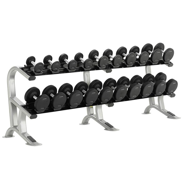 York Pro-Style Dumbbell Set & Rack 2.5kg-25kg (10 Pairs