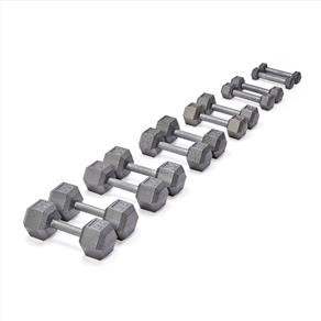 OFFER 20% OFF 17.5KG - 25KG York Grey Cast Hex Dumbbell Pack