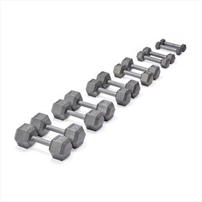 OFFER 20% OFF 1.25KG - 5KG YORK GREY CAST HEX DUMBBELL PACK