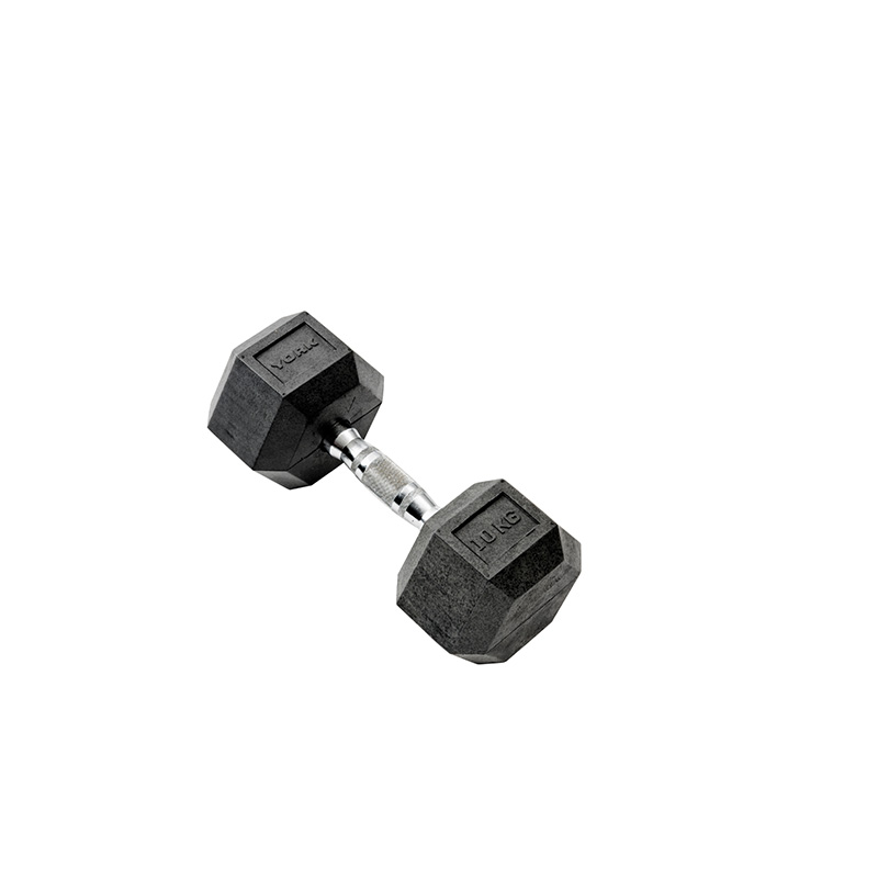 York 1 x 10kg Rubber Hex Dumbbell *CLICK HERE*