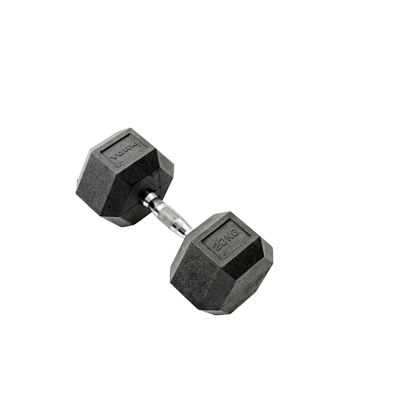 York 1 x 20kg Rubber Hex Dumbbell *CLICK HERE*