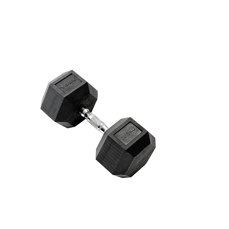 York 1 x 22.5kg Rubber Hex Dumbbell *CLICK HERE*
