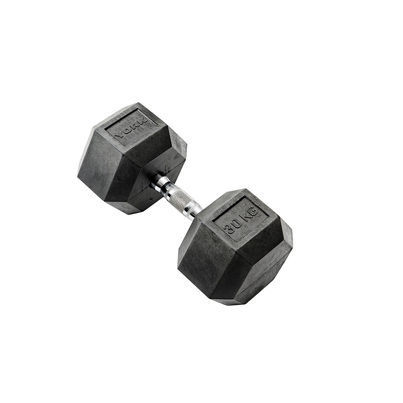 York 1 x 30kg Rubber Hex Dumbbell *CLICK HERE*