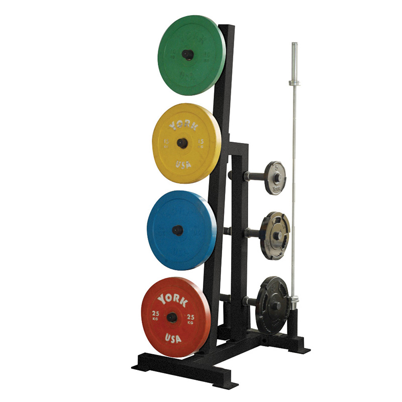 York Olympic Single Sided Plate Tree Rack with 2 Olympic Bar Holders
